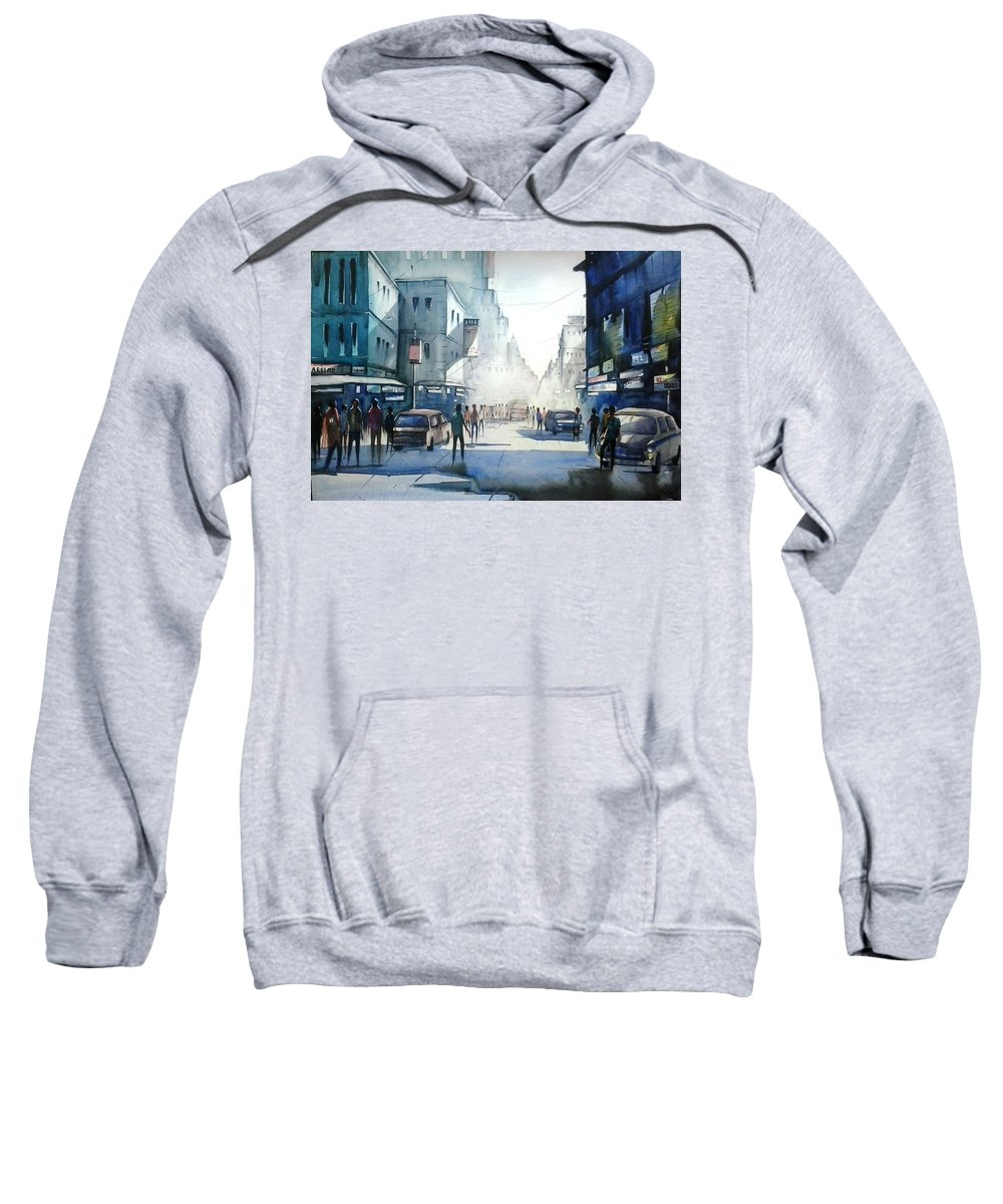 Kolkata City Sweatshirt featuring the painting Kolkata City by Sooneel Chauhan