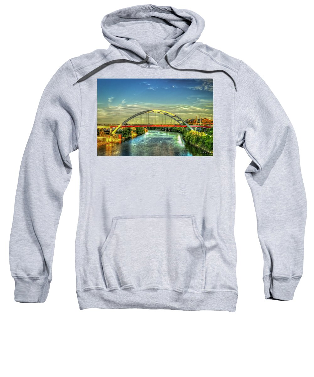 Reid Callaway Korean War Veterans Memorial Bridge Sweatshirt featuring the photograph Korean Veterans Memorial Bridge 2 Nashville Tennessee Sunset Art by Reid Callaway