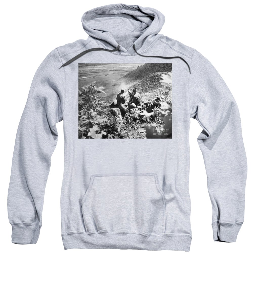 1951 Sweatshirt featuring the photograph Korean War: Machine Gun by Granger