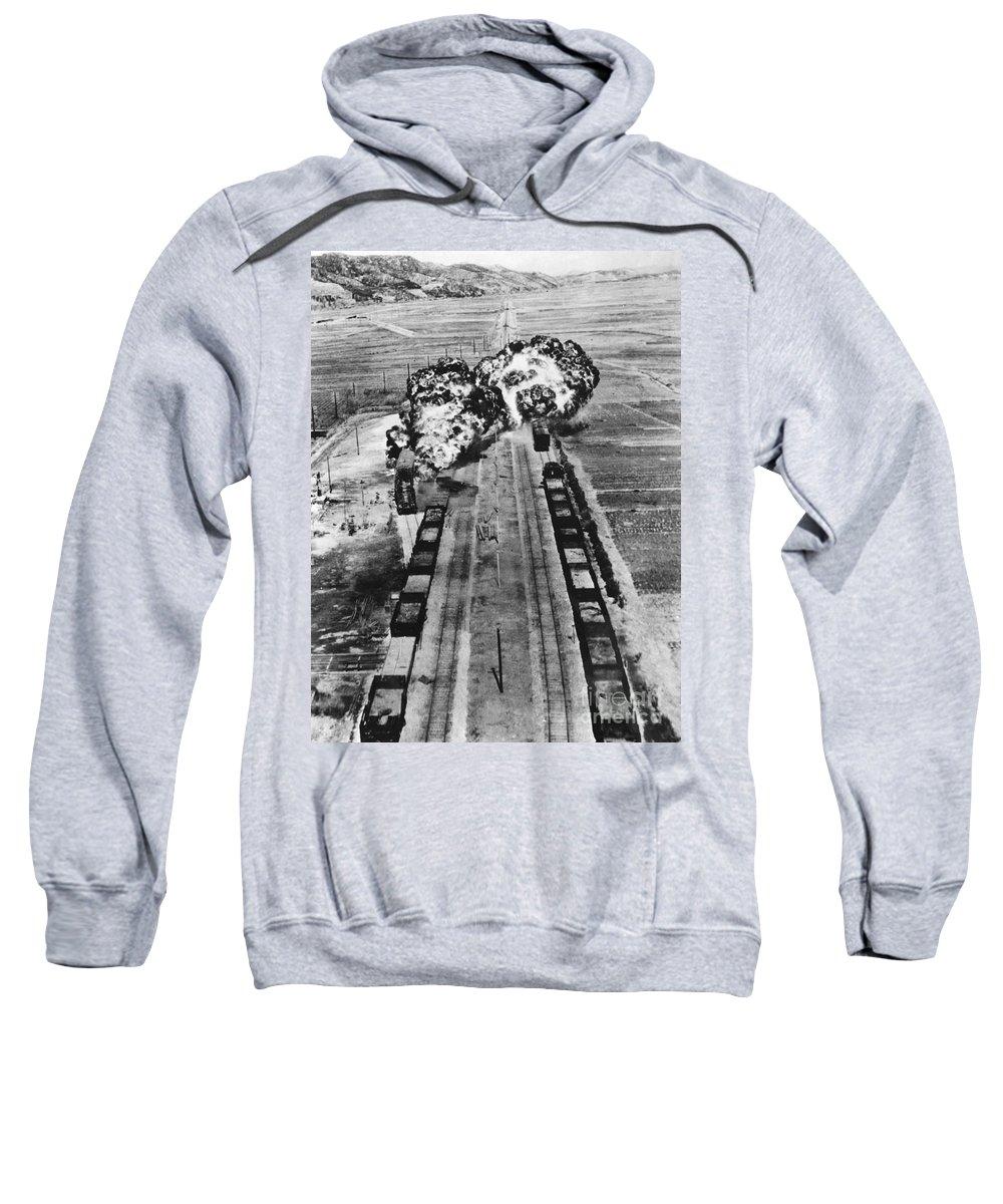 1950 Sweatshirt featuring the photograph Korean War: Napalm Raid by Granger