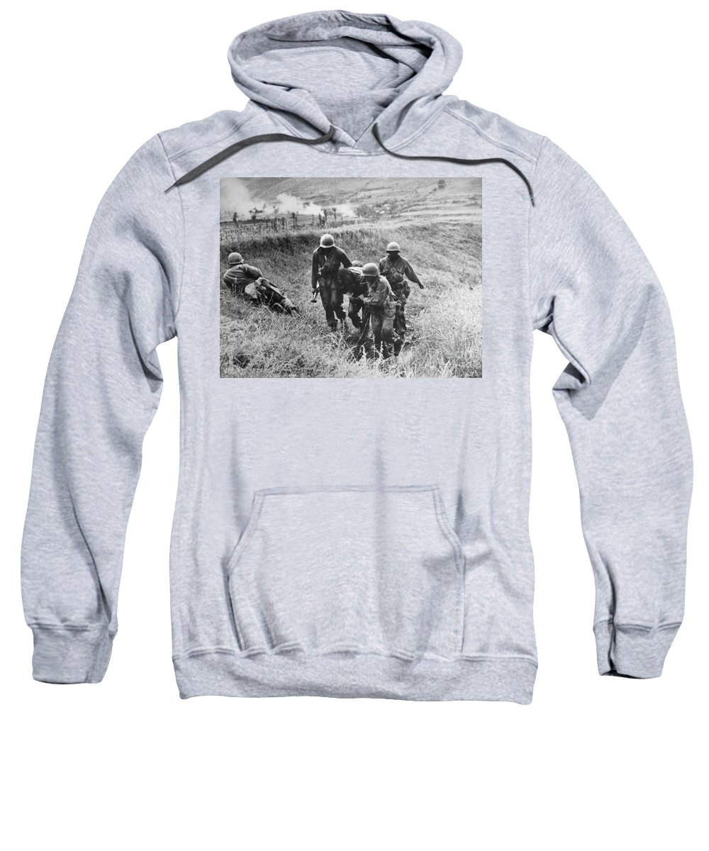 1950 Sweatshirt featuring the photograph Korean War: Wounded, 1950 by Granger