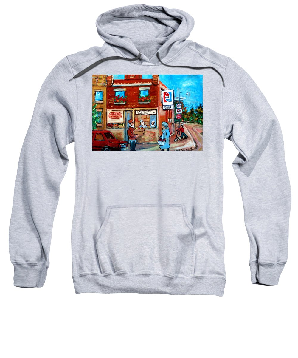 Kosher Bakery Sweatshirt featuring the painting Kosher Bakery On Hutchison Street by Carole Spandau