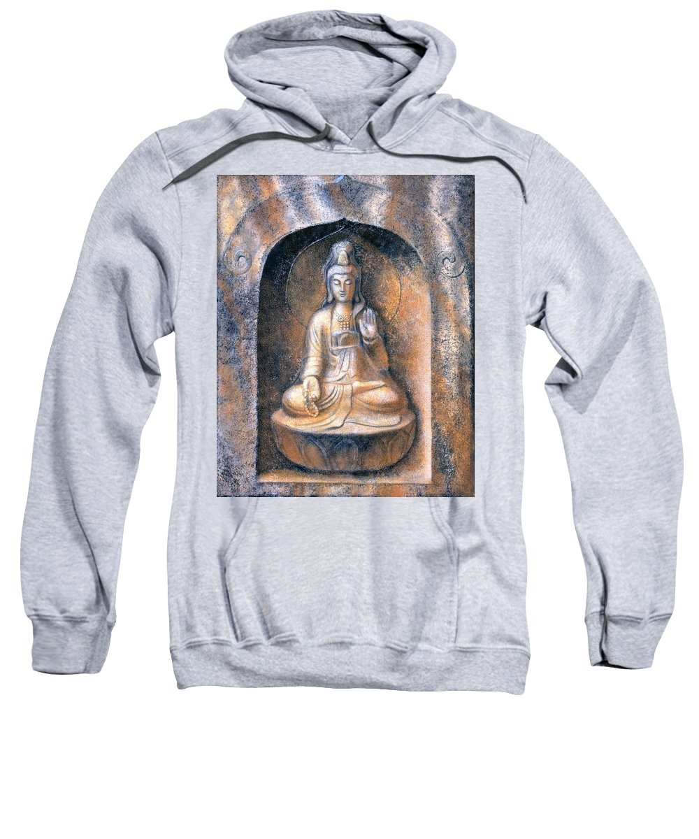 Kwan Yin Sweatshirt featuring the painting Kuan Yin Meditating by Sue Halstenberg