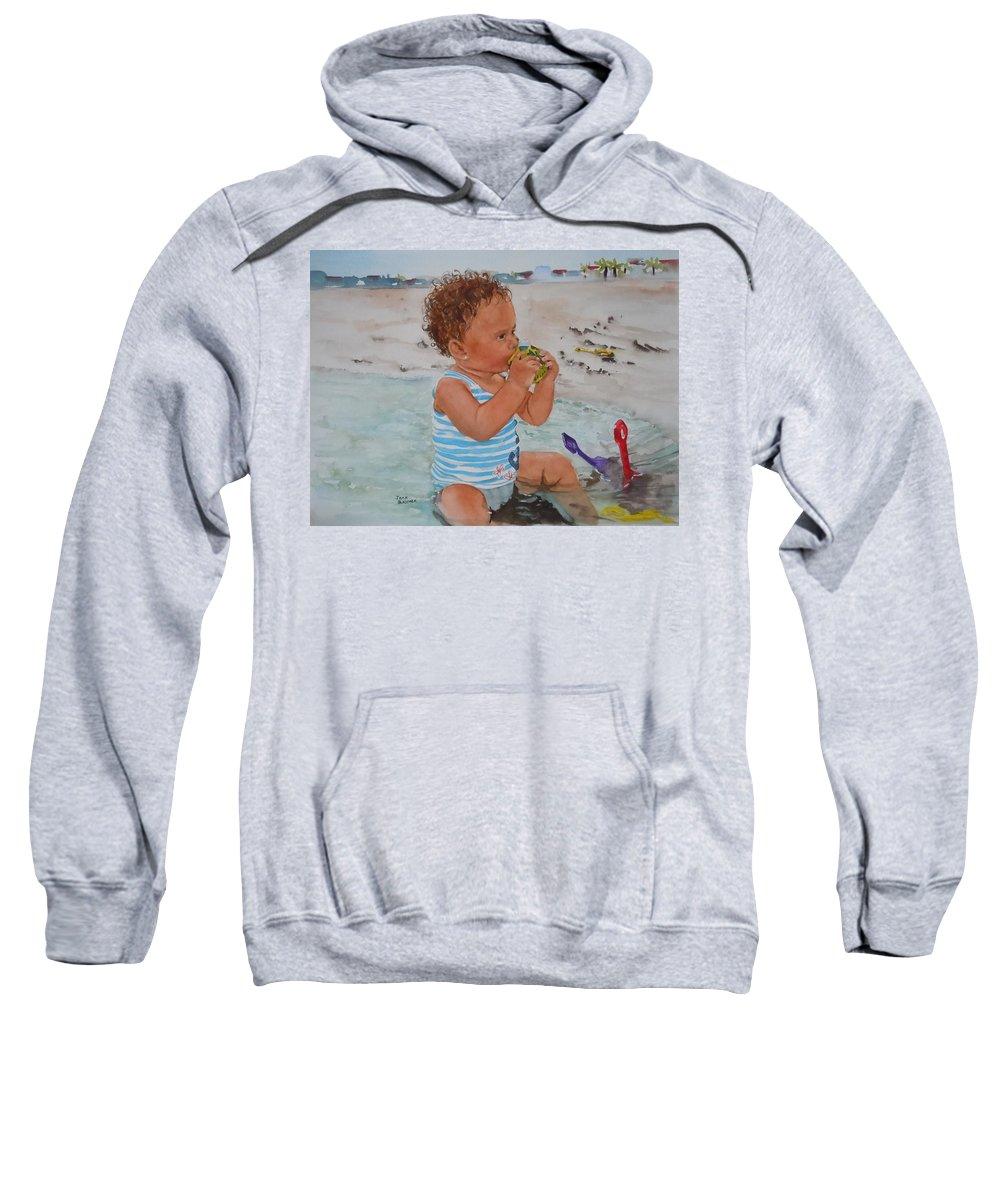 Beach Sweatshirt featuring the painting Kyla by Jean Blackmer