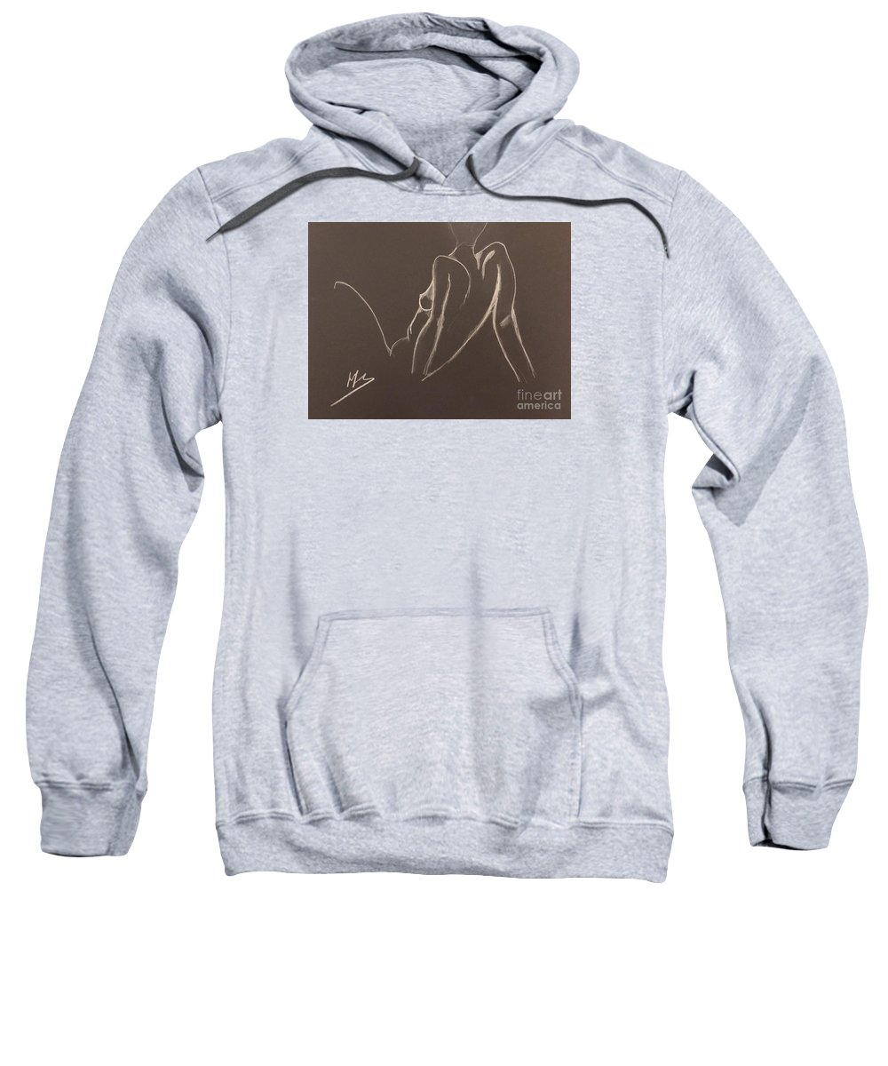 Woman Sweatshirt featuring the drawing La Pensive by Peter Weinberg