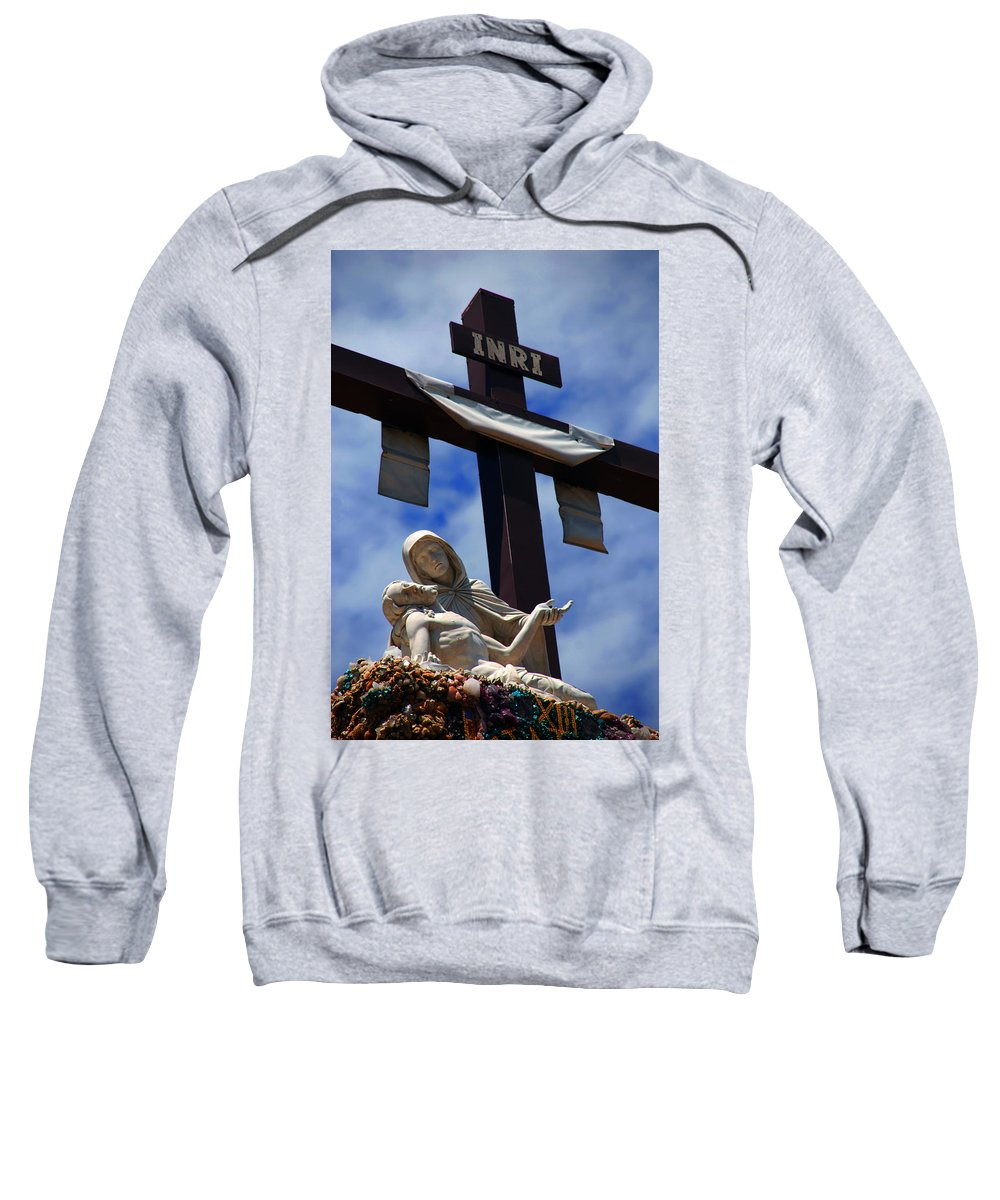Mother Mary Sweatshirt featuring the photograph La Pieta by Susanne Van Hulst