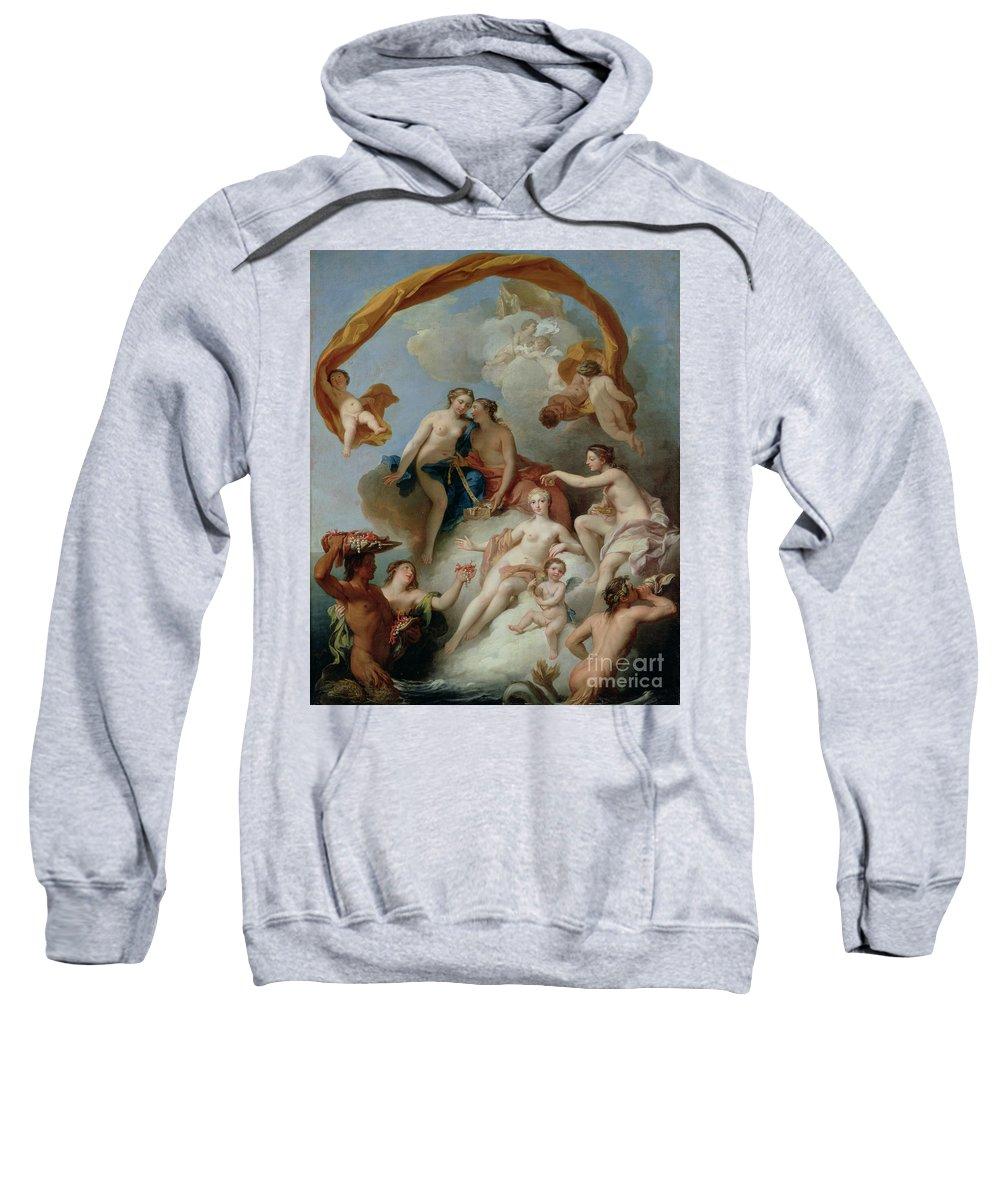 Goddess Of Beauty And Love; La Toilette De Venus; Aphrodite; Nymphs; Cherubs; Putti; Female; Nude; Cloud; Jewellery; Jewelry; Pearls; Triton; Dressing Sweatshirt featuring the painting La Toilette De Venus by Francois Lemoyne