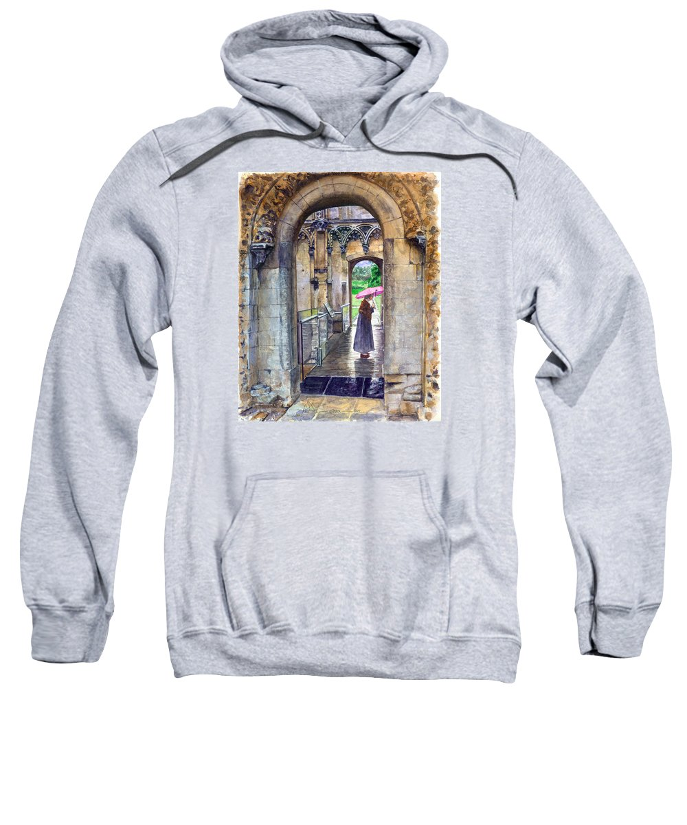 Glastonbury Sweatshirt featuring the painting Lady Chapel by John D Benson