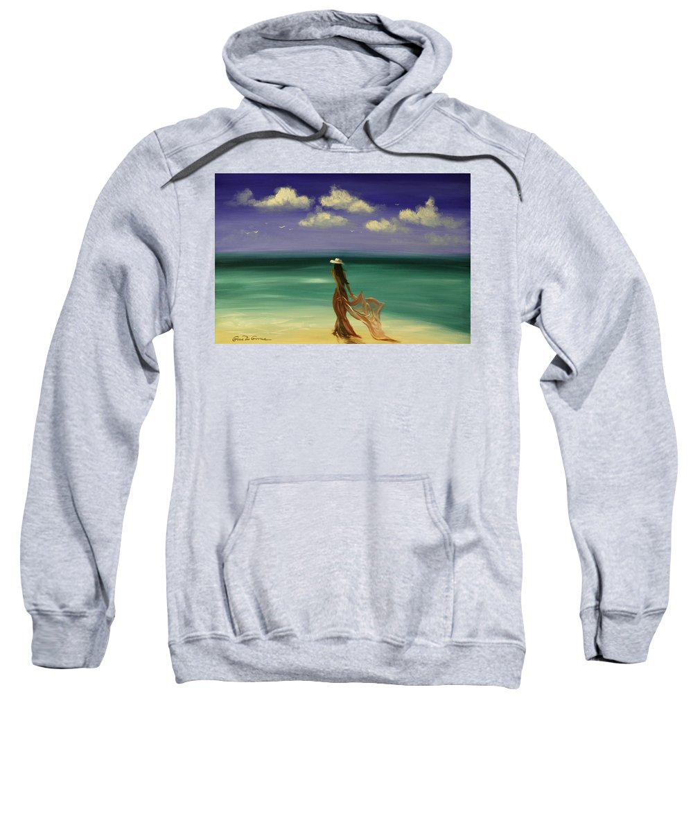 Nice Sweatshirt featuring the painting Lady In Red by Gina De Gorna
