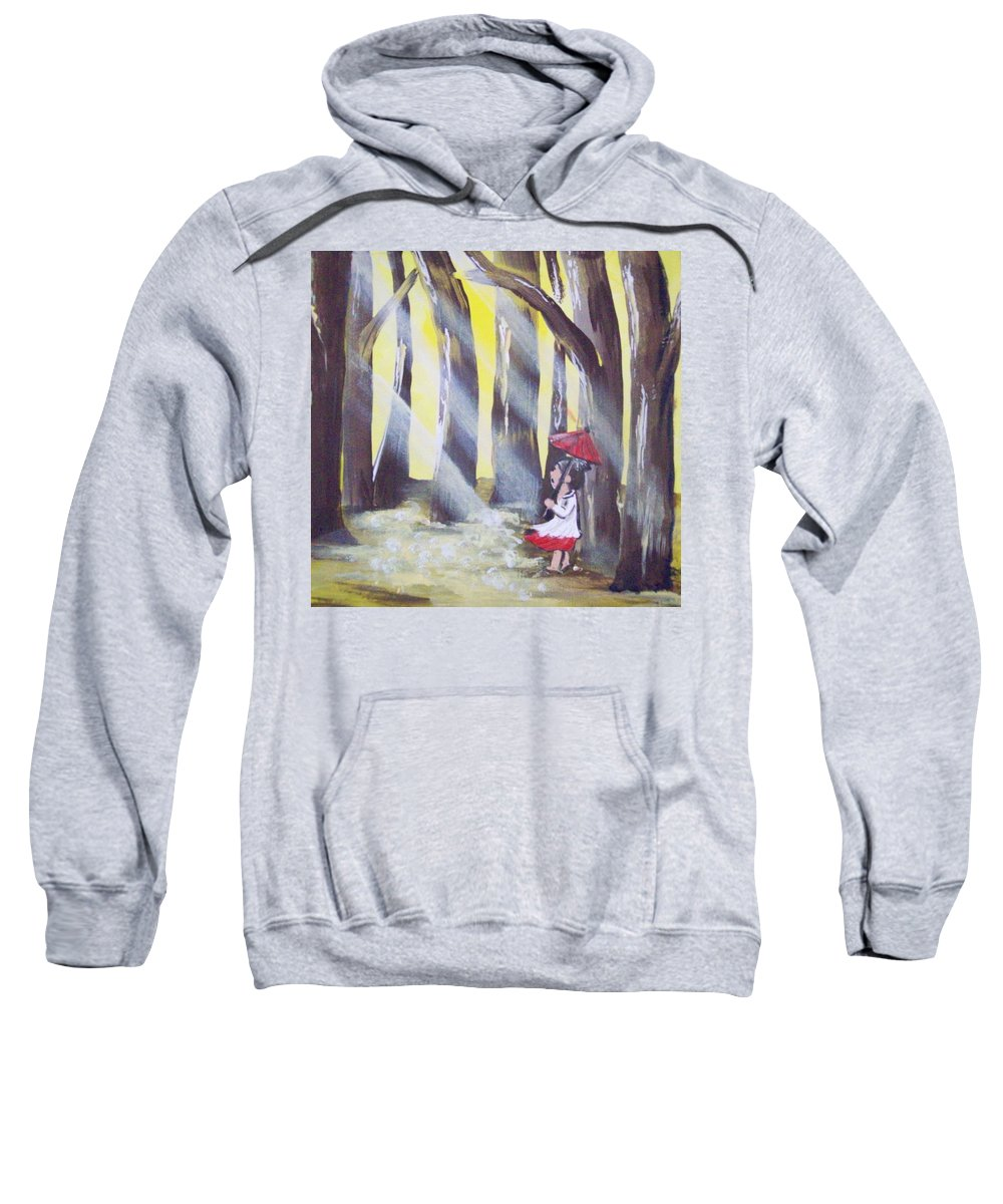 Folk Sweatshirt featuring the painting Lady Lost by Susan Michutka