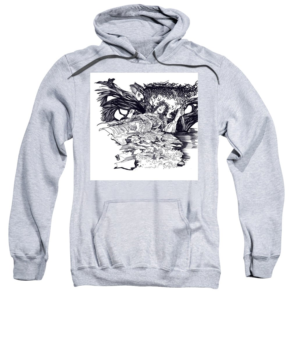 Digital Line Art Sweatshirt featuring the digital art Lady Of Shalot by Carrley Mason
