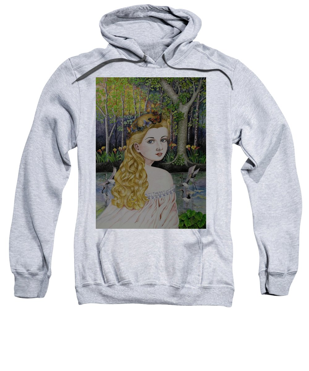 Lady Of The Lake Sweatshirt featuring the painting Lady Of The Lake by Olive Pascual
