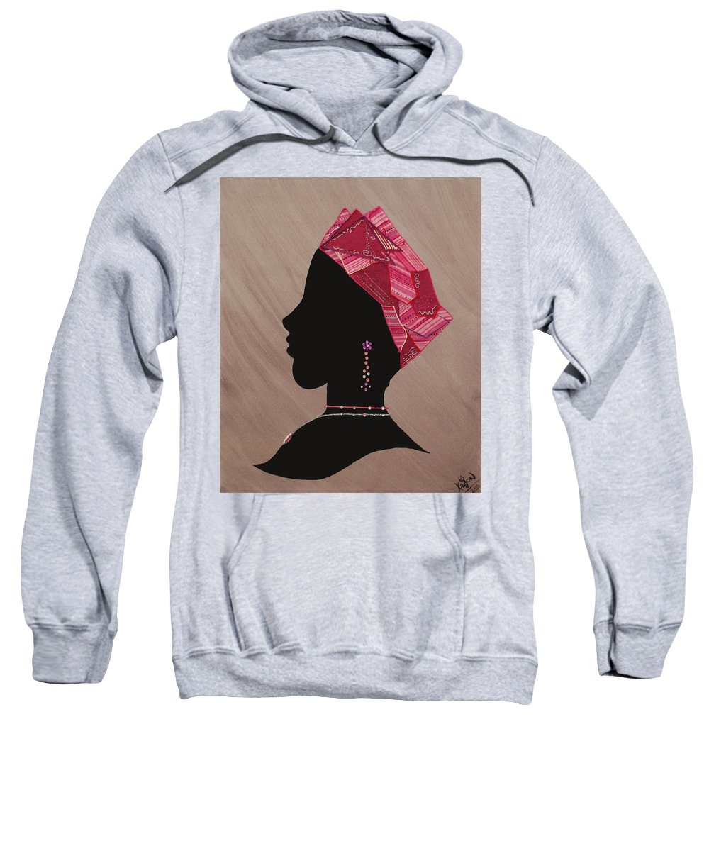 Jewelry Sweatshirt featuring the mixed media Lady Pink by Kayon Cox