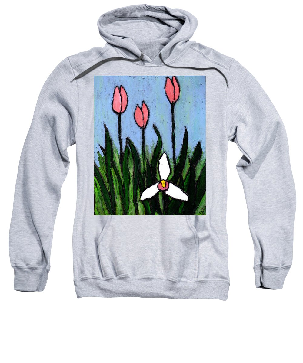 Flowers Sweatshirt featuring the painting Lady Slipper And Court by Wayne Potrafka