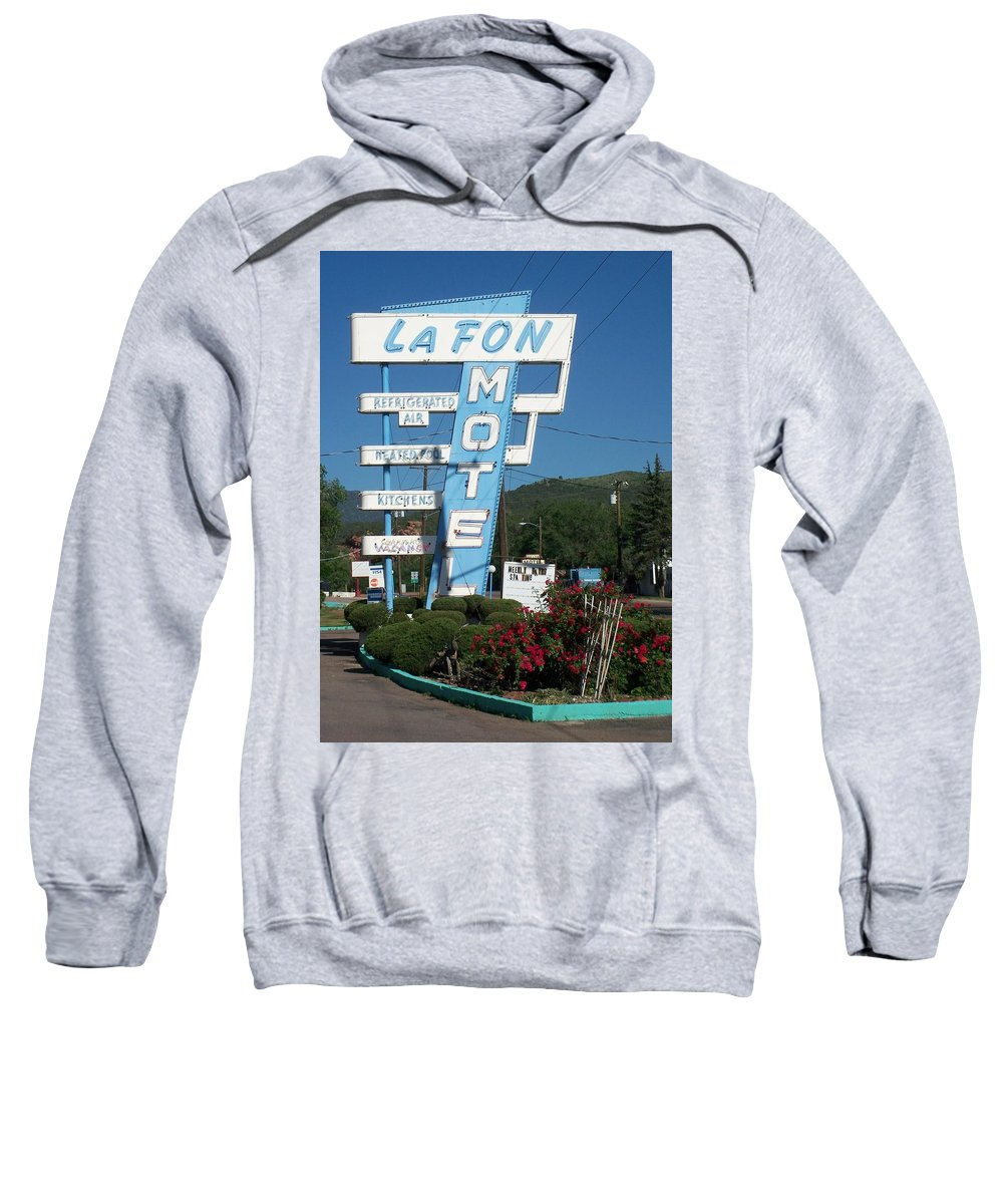 Vintage Motel Signs Sweatshirt featuring the photograph Lafon Motel by Anita Burgermeister