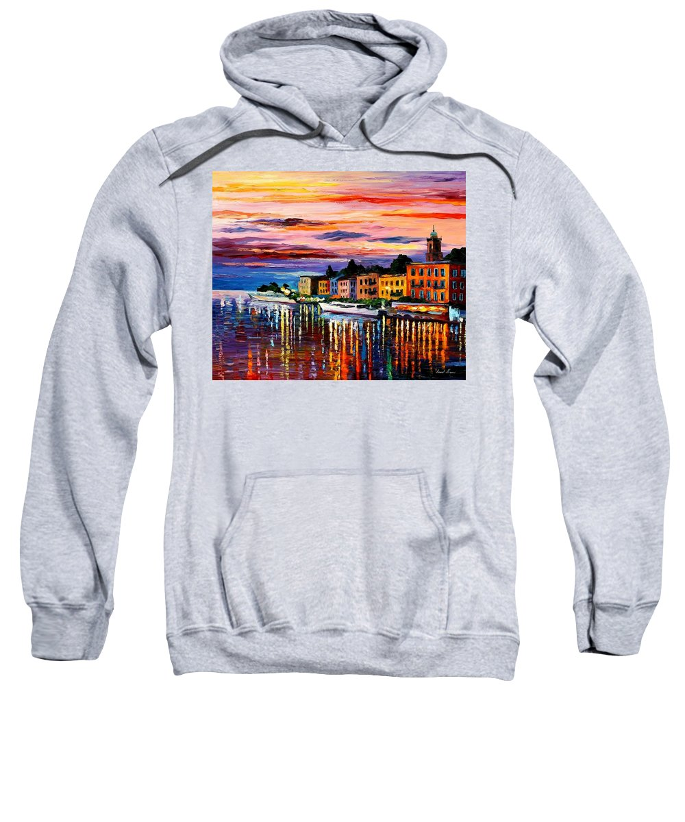 Cityscape Sweatshirt featuring the painting Lake Como - Bellagio by Leonid Afremov