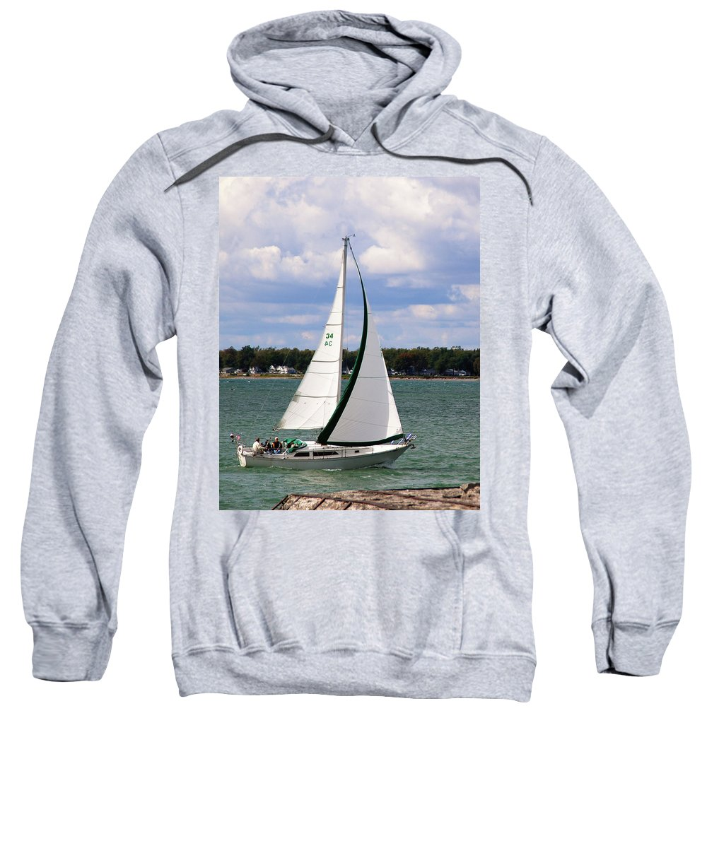 Boat Sweatshirt featuring the photograph Lake Erie Sailing 8092 by Guy Whiteley