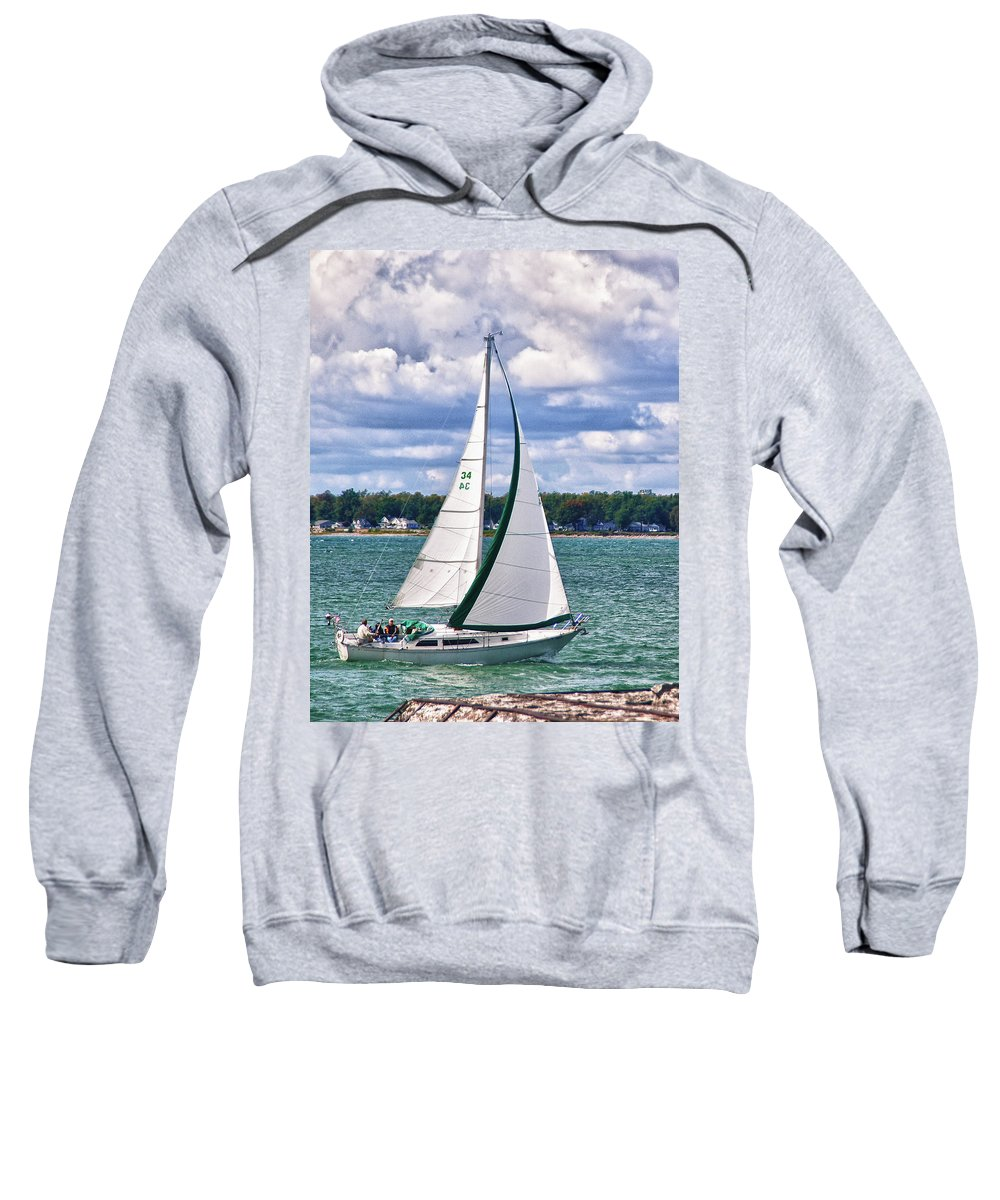 Boat Sweatshirt featuring the photograph Lake Erie Sailing 8092h by Guy Whiteley