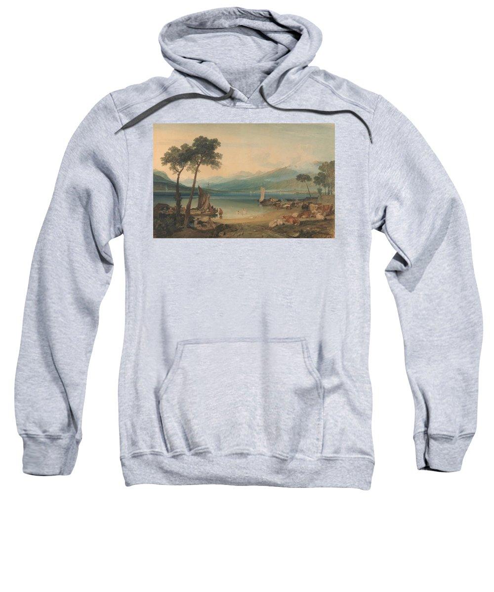 Lake Geneva And Mount Blanc Sweatshirt featuring the painting Lake Geneva And Mount Blanc by Grypons Art