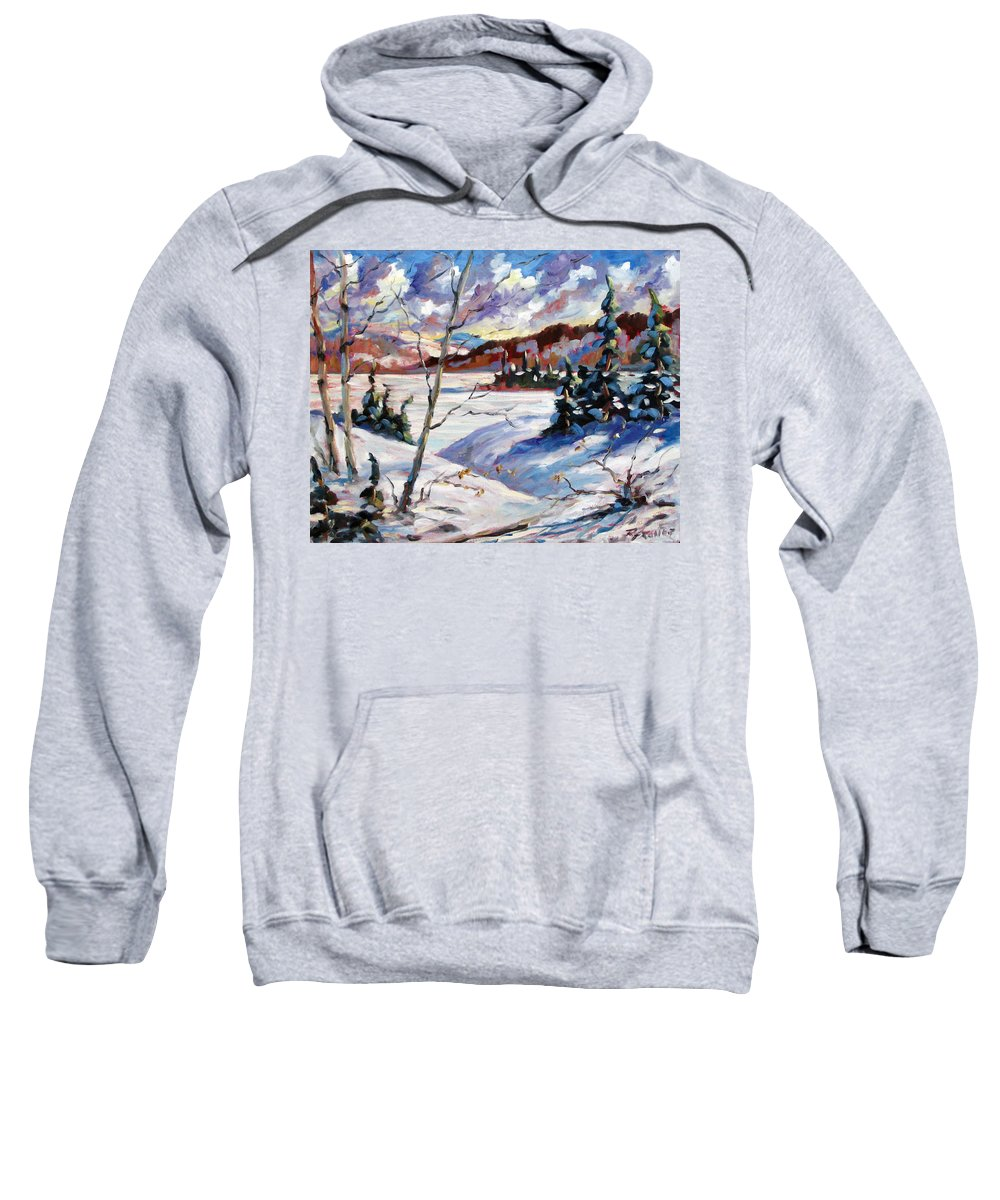 Lake Sweatshirt featuring the painting Lake In Winter by Richard T Pranke