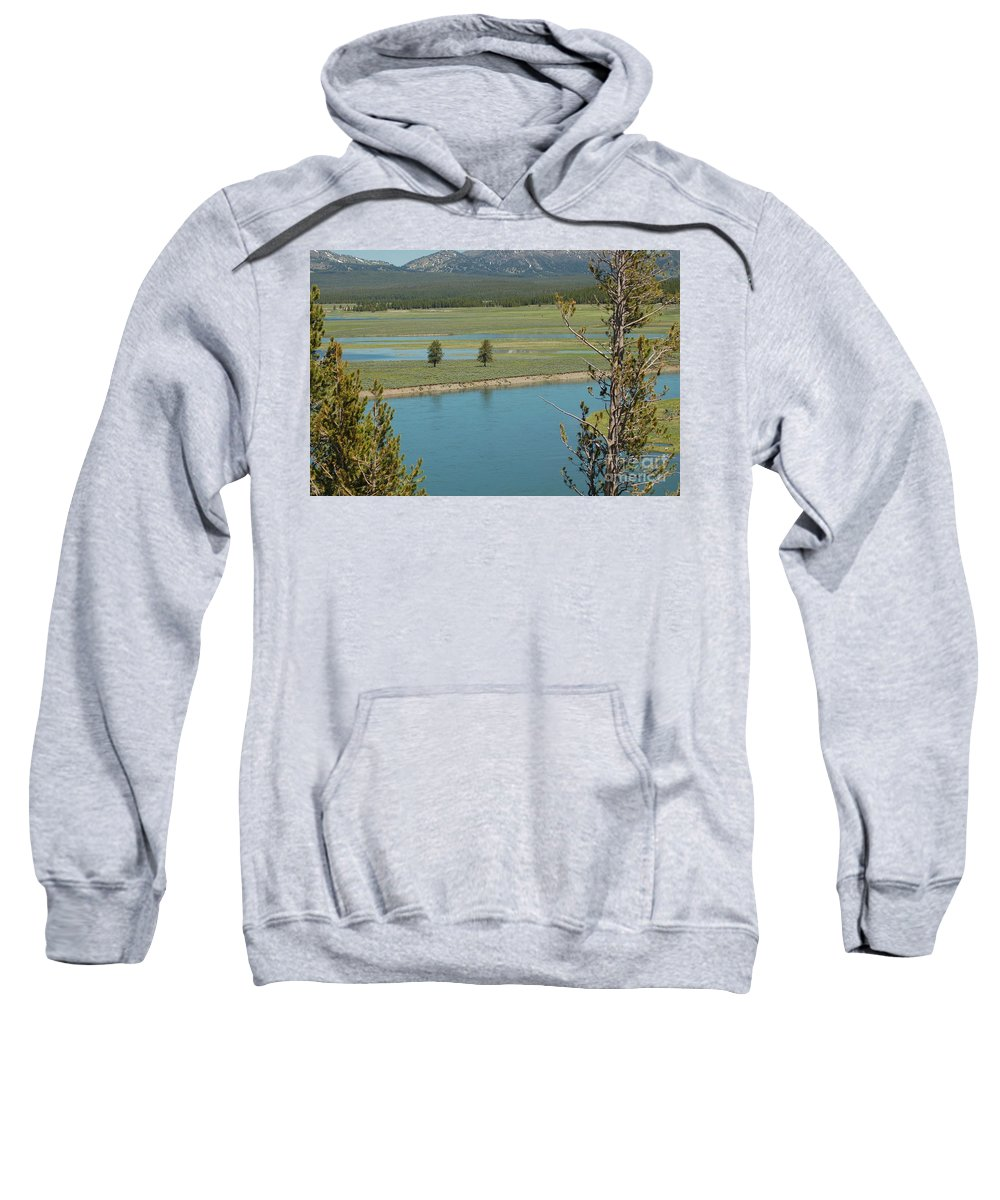 Yellowstone National Park Sweatshirt featuring the photograph Lake In Yellowstone by Lucy Bounds