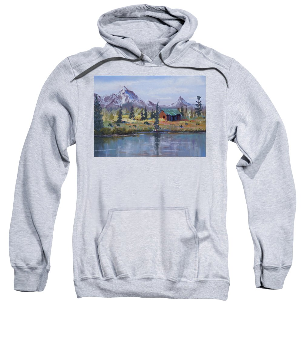 Pastel Landscape Sweatshirt featuring the painting Lake Jenny Cabin Grand Tetons by Heather Coen