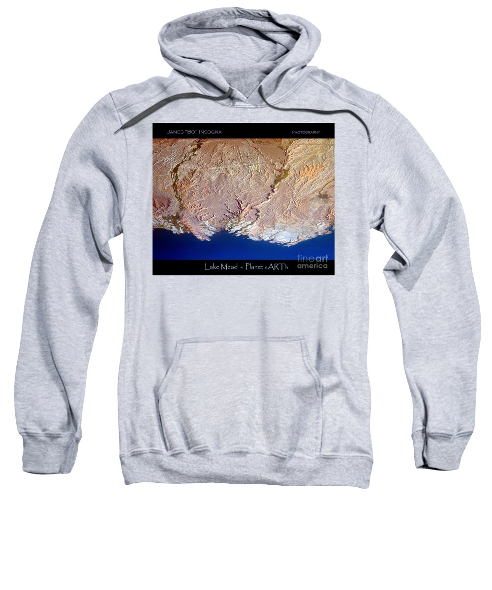 Aerial Sweatshirt featuring the photograph Lake Mead - Planet Art by James BO Insogna