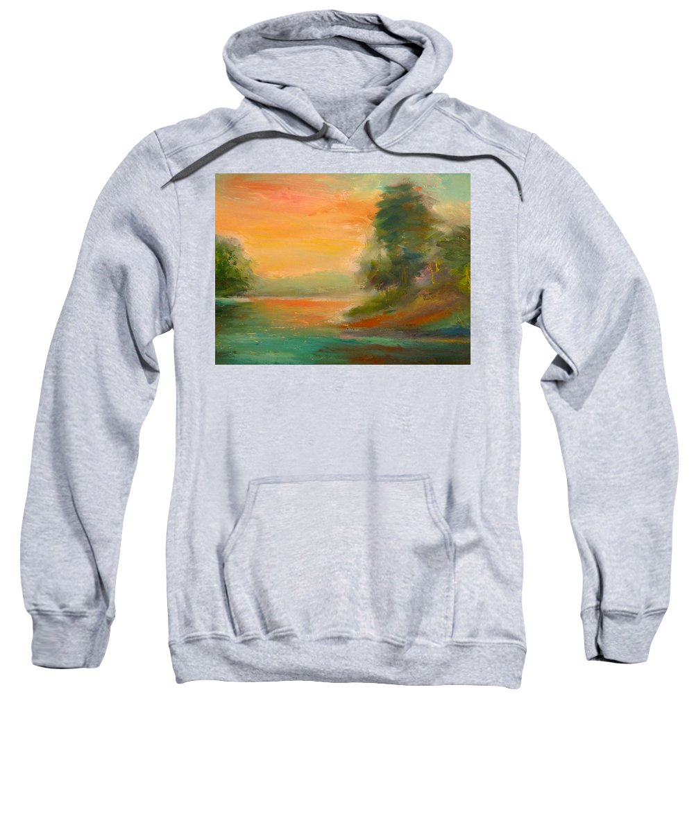 Landscape Sweatshirt featuring the painting Lake Merced by Pusita Gibbs