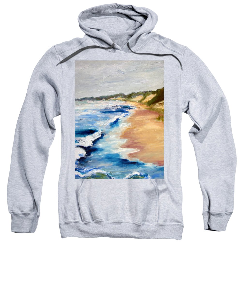 Whitecaps Sweatshirt featuring the painting Lake Michigan Beach With Whitecaps Detail by Michelle Calkins