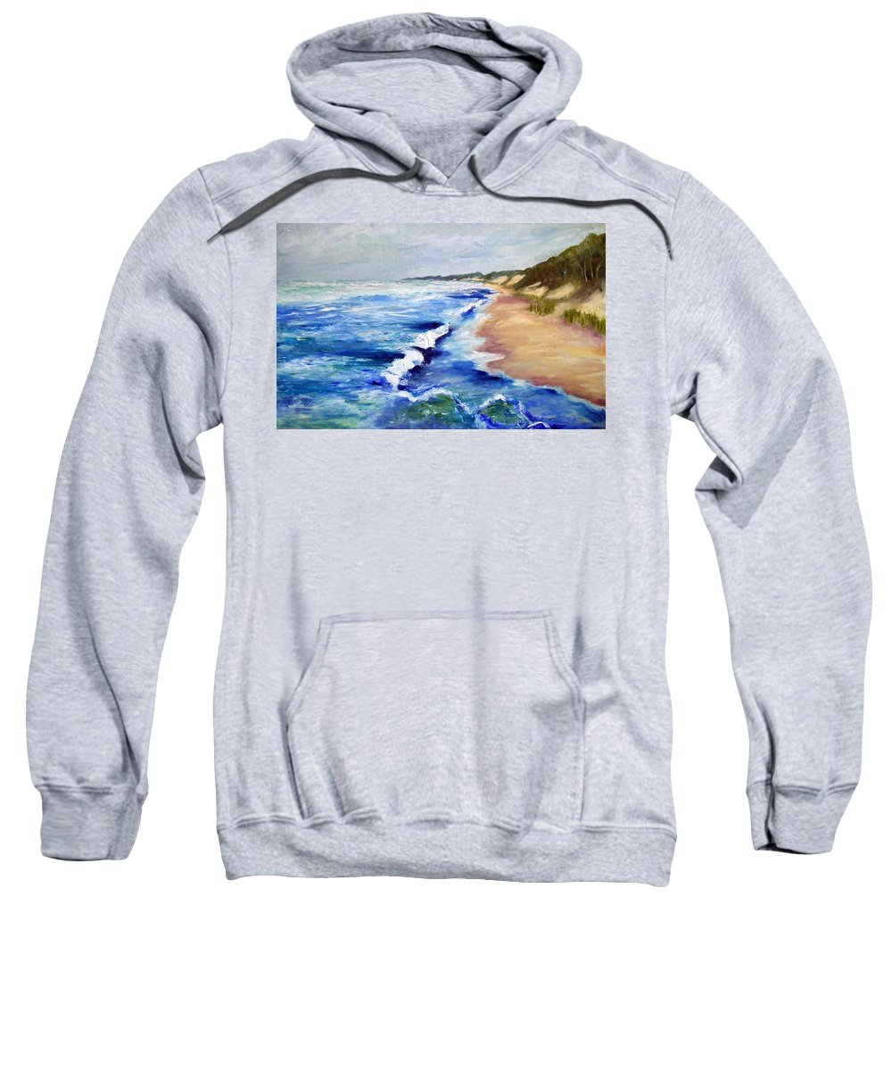 Whitecaps Sweatshirt featuring the painting Lake Michigan Beach With Whitecaps by Michelle Calkins