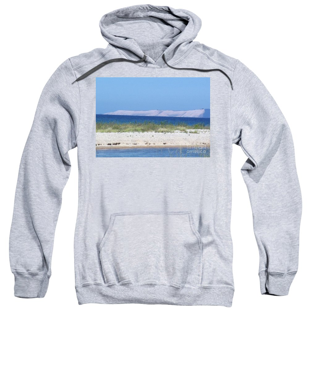 Lake Michigan Sweatshirt featuring the photograph Lake Michigan Road by Desiree Paquette