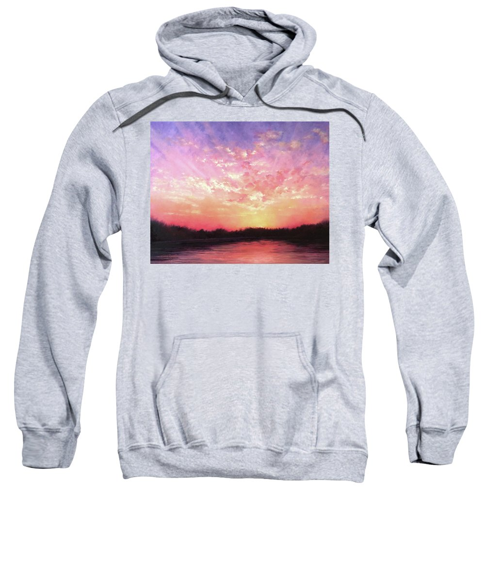 Landscape Sweatshirt featuring the painting Lake Sunset by Teri Rosario