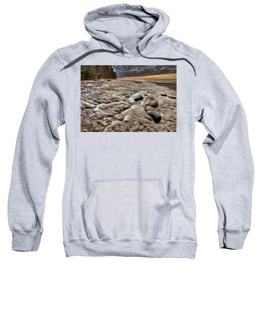 Lake Sweatshirt featuring the digital art Lake Superior Northern Michigan by Mark Duffy