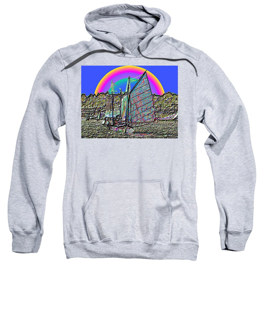 Seattle Sweatshirt featuring the photograph Lake Union Rainbow Sail by Tim Allen