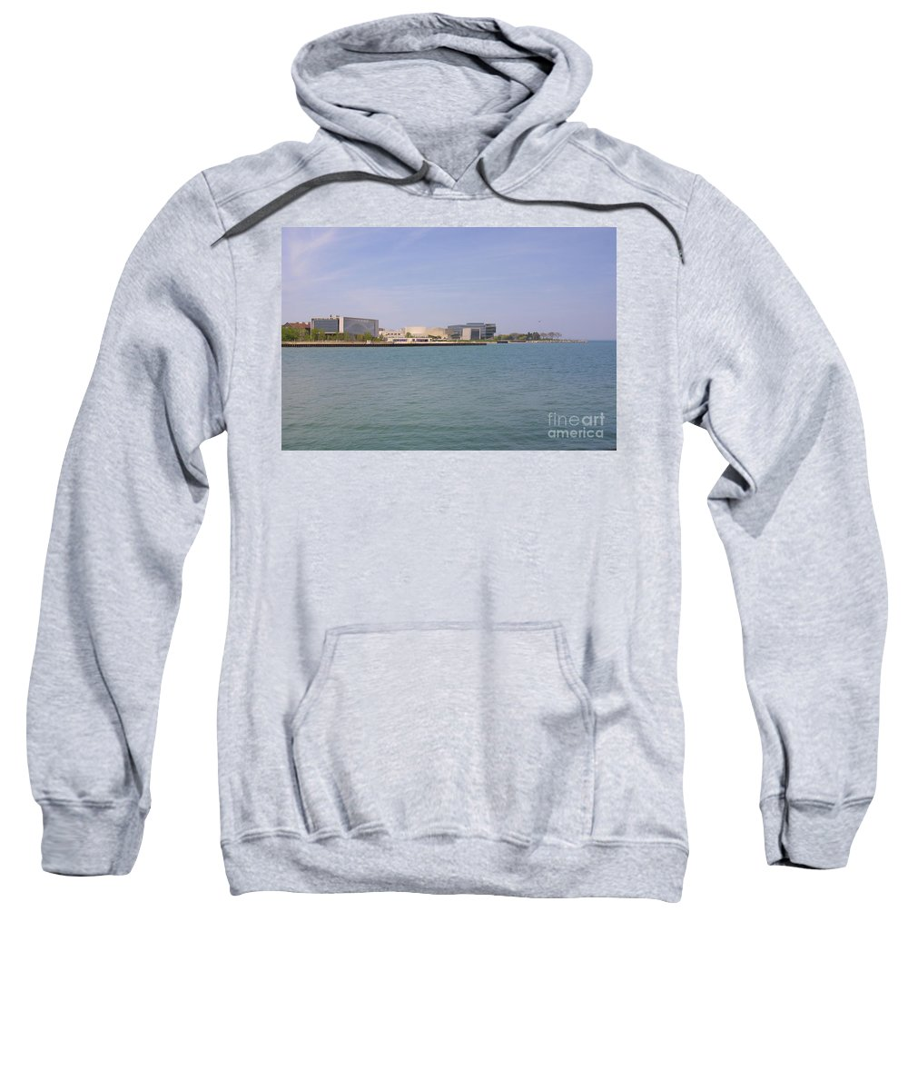 Highland Productions Llc Sweatshirt featuring the photograph Lakefront On A Clear Day by Darren Dwayne Frazier