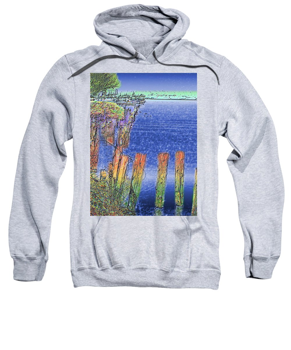 Seattle Sweatshirt featuring the photograph Lakeside Pilings by Tim Allen