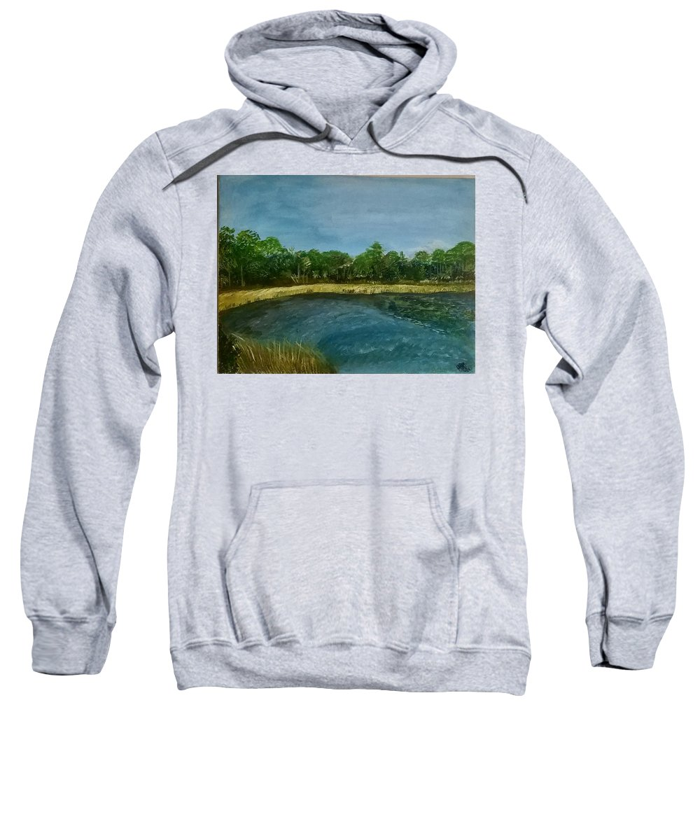 Landscape Sweatshirt featuring the painting Lakeview Tallahassee by Hope Bullard