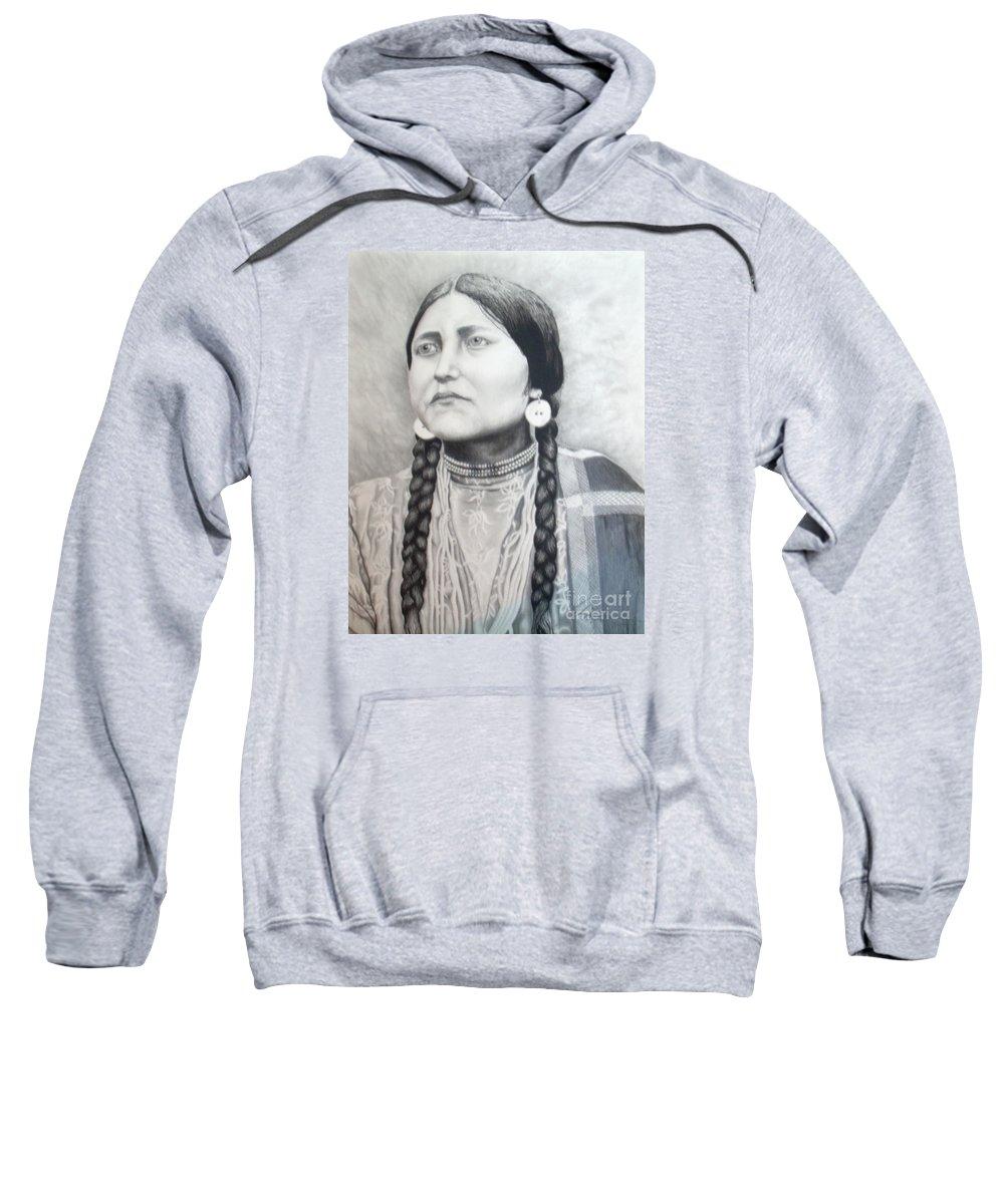 Western Sweatshirt featuring the drawing Lakota Woman by John Huntsman