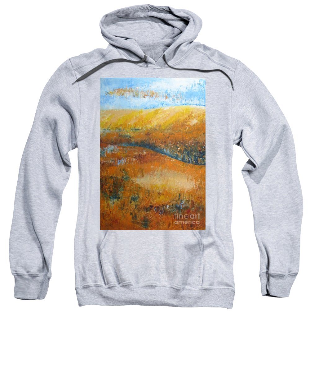Landscape Sweatshirt featuring the painting Land Of Richness by Stella Velka