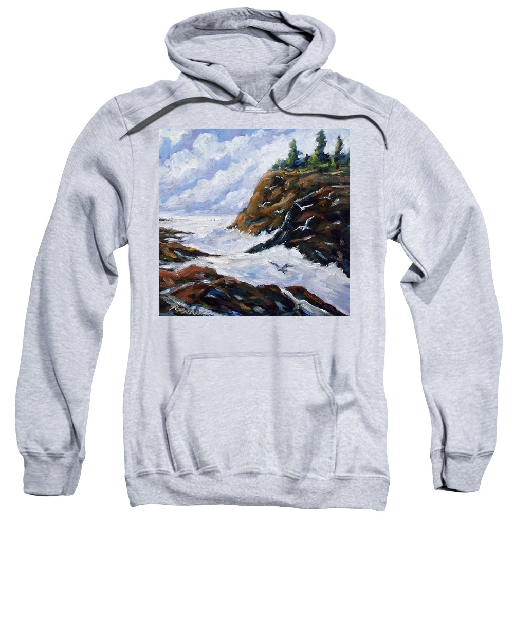 Art Sweatshirt featuring the painting Lands End by Richard T Pranke