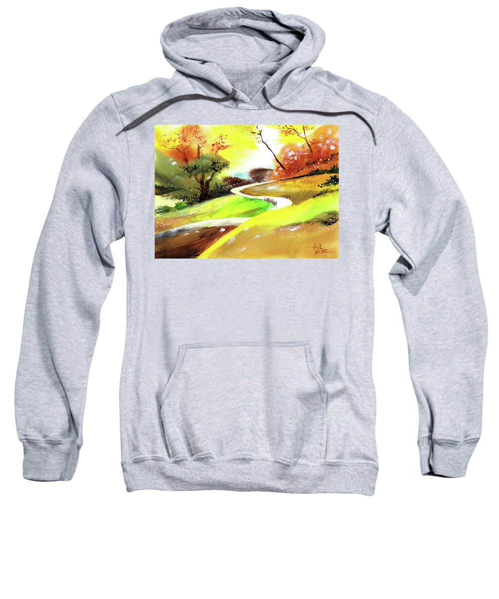 Nature Sweatshirt featuring the painting Landscape 6 by Anil Nene