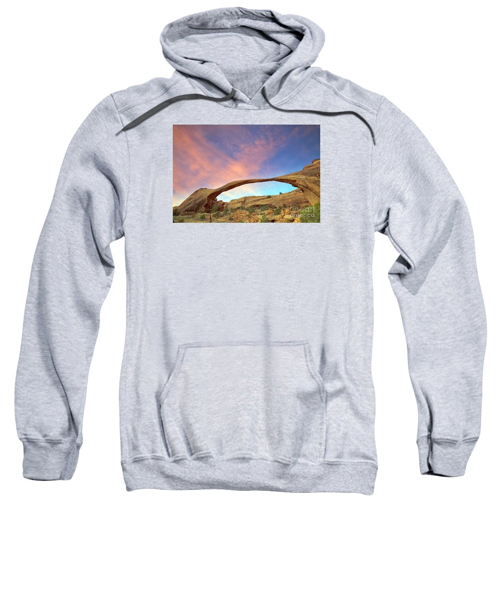 Landscape Arch Sweatshirt featuring the photograph Landscape Arch Sunrise by Daryl L Hunter