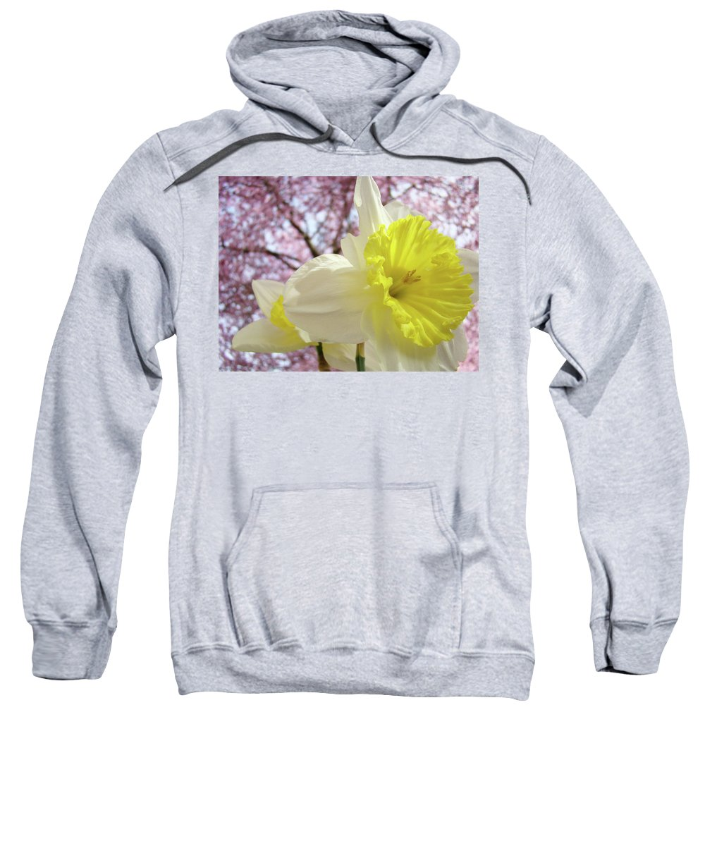 Trees Sweatshirt featuring the photograph Landscape Daffodils Flowers Art Pink Tree Blossoms Spring Baslee by Baslee Troutman