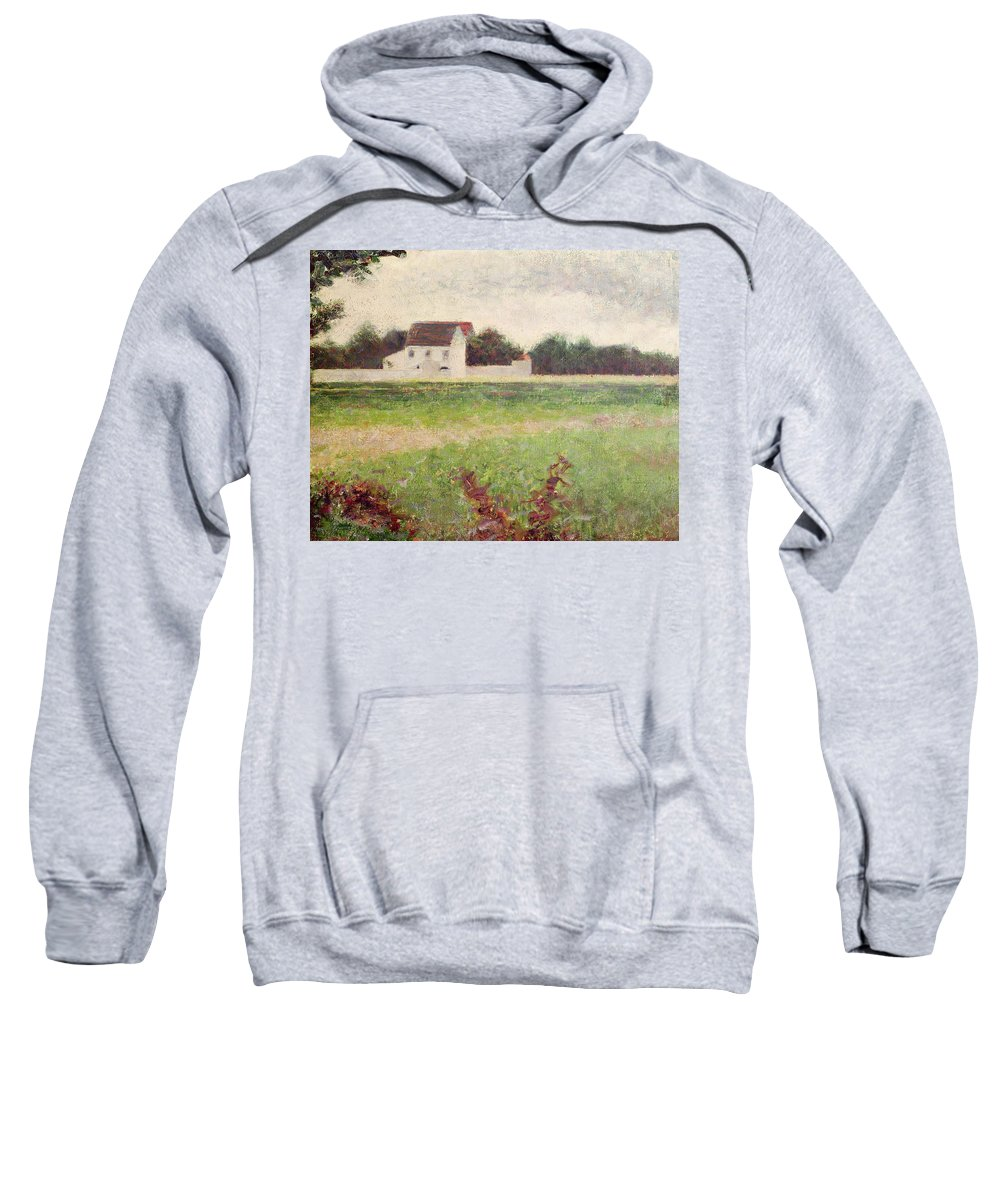 Seurat Sweatshirt featuring the painting Landscape In The Ile De France by Georges Pierre Seurat