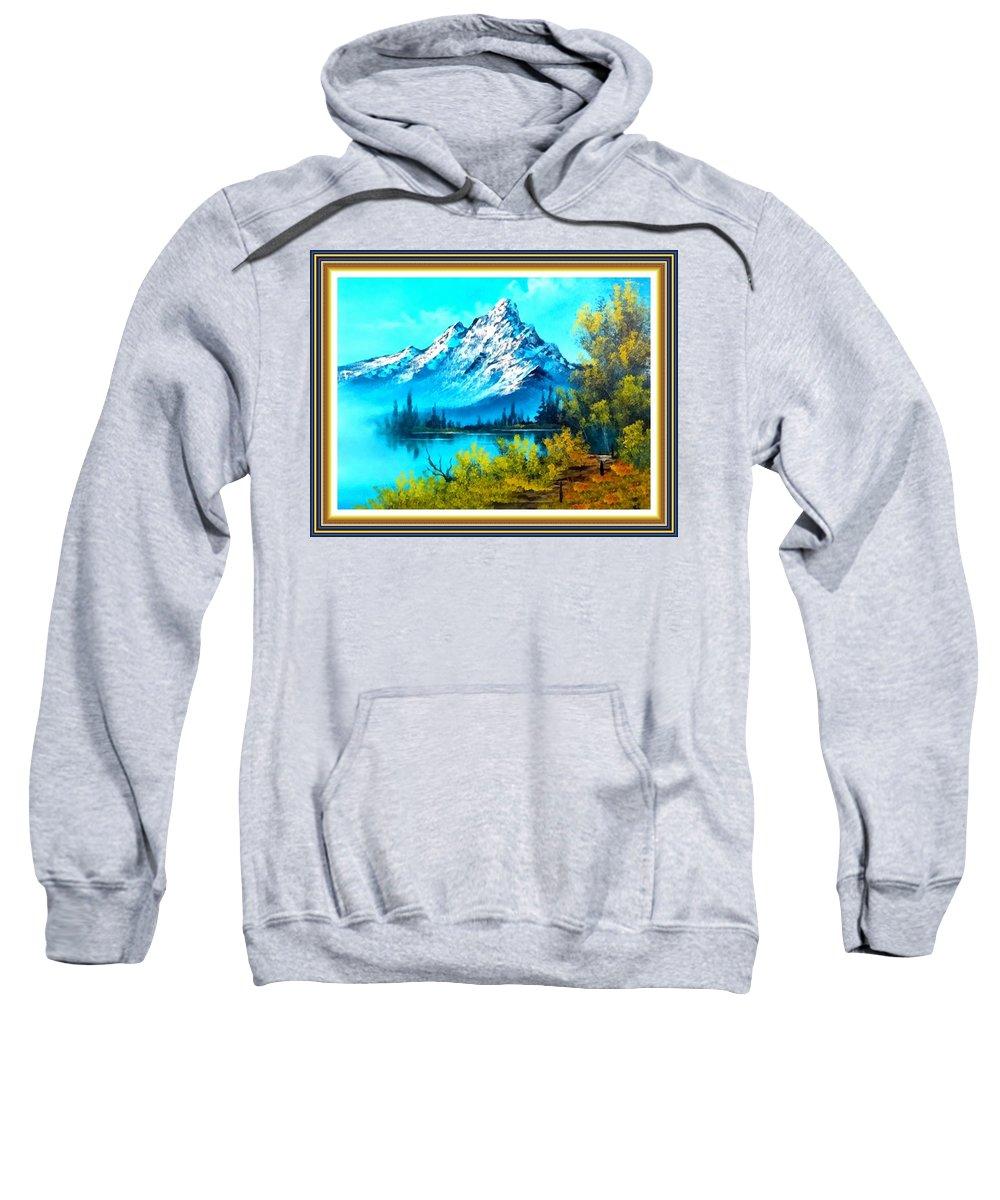 Park Sweatshirt featuring the painting Landscape Scene Near Virginiahurst L B With Alt. Decorative Onate Printed Frame by Gert J Rheeders
