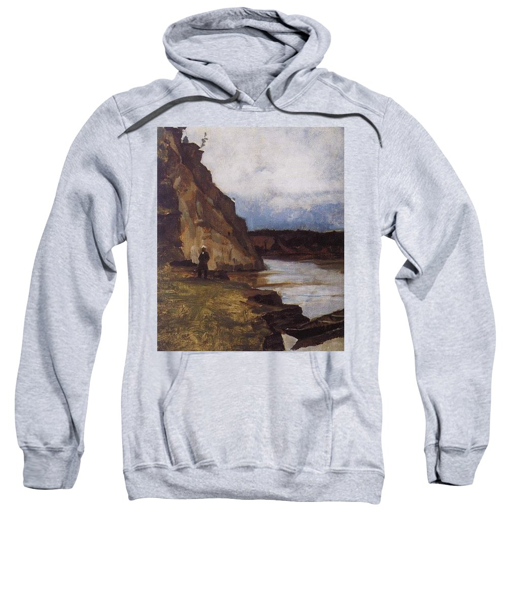 Cliff Sweatshirt featuring the digital art Landscape With A Figure Of His Brother Vasily Ivanovich Surikov by Eloisa Mannion