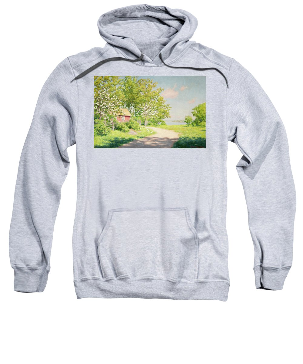 Johan Krouthen Sweatshirt featuring the painting Landscape With Pickling Hens by Johan Krouthen