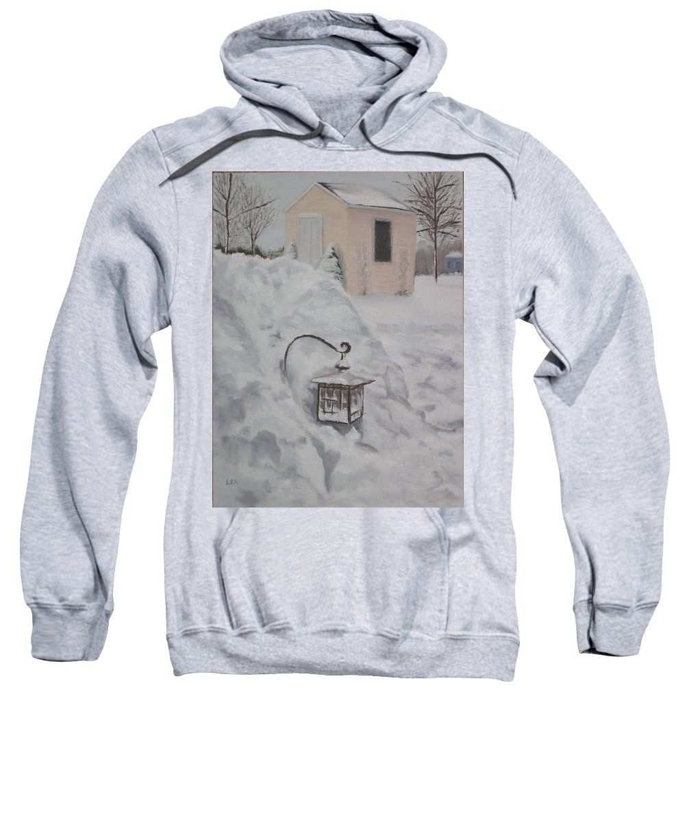 Snow Sweatshirt featuring the painting Lantern In The Snow by Lea Novak