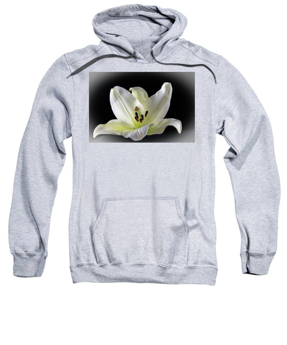 Macro Sweatshirt featuring the photograph Large Lily-1 by Jennifer Wick
