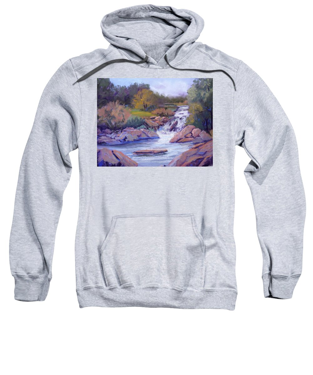 Pastel Sweatshirt featuring the painting Larsen Falls by Heather Coen